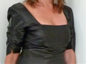 Black Leather Dress neckline detail