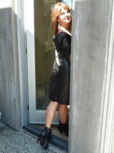 Black Leather Dress back