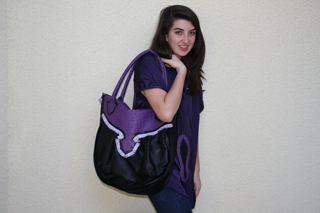 Purple and Black Purse w/Ostrich Print and Matching Belt w/Relic Buckle