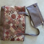 "Leather Waves Tote in tapestry and ""no-animal leather"""