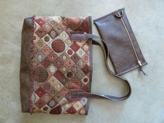 """Leather Waves Tote in tapestry and """"no-animal leather"""""""
