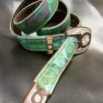 Floral printed leather w/ranger buckle set on Western Belt