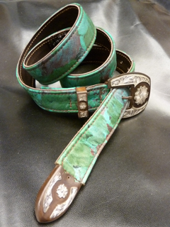 Floral printed leather w/ranger buckle set on Western Belt