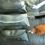 Leather Waves Clutch Bags w/Heart Fur-Tail Keychain