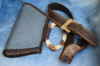 Small Leather Bag and piped-edge Belt