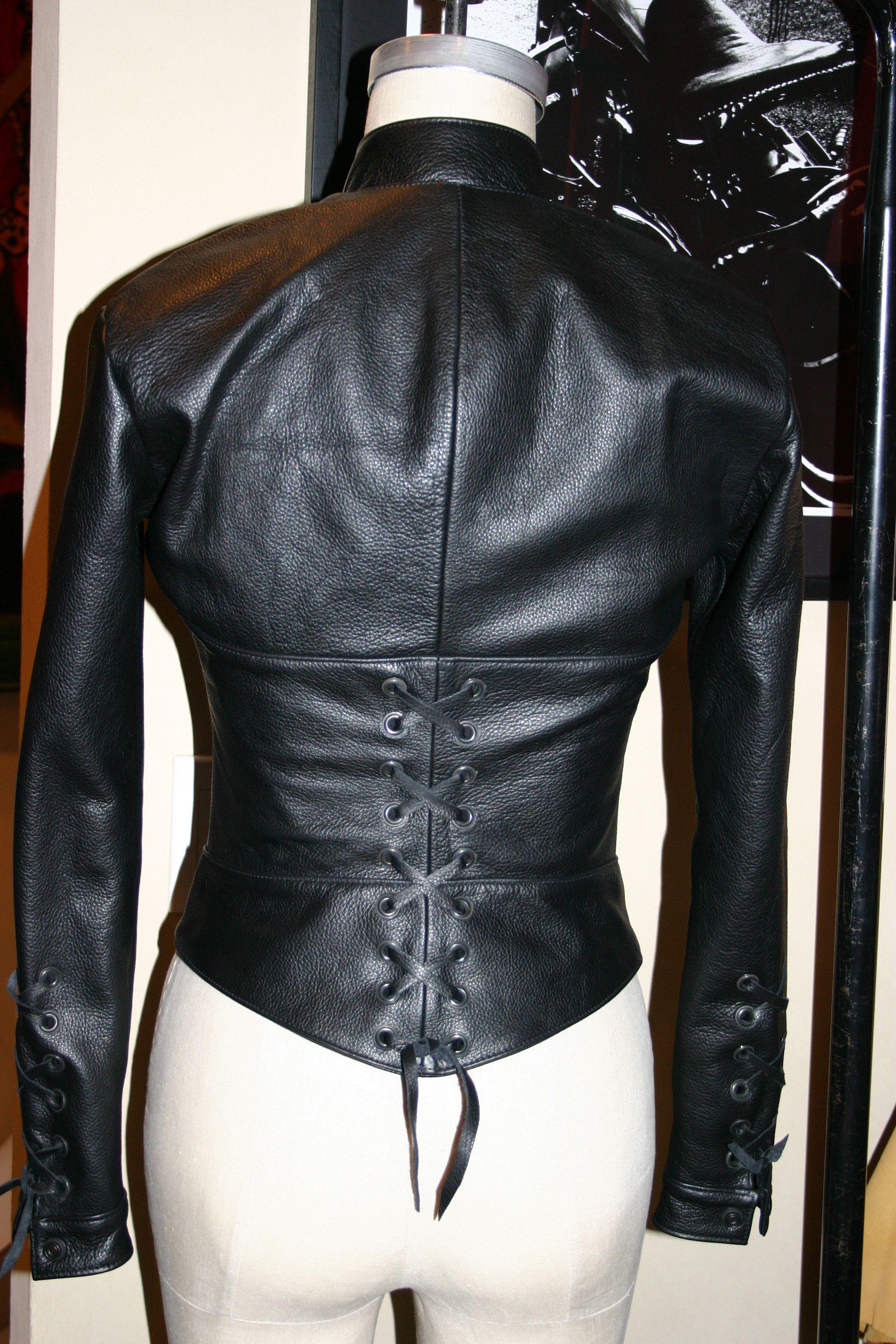 Corset leather jacket
