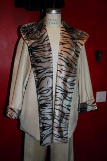 Women's Puce Suede Jacket Pants and matching Skirt with Tiger print Faux Fur