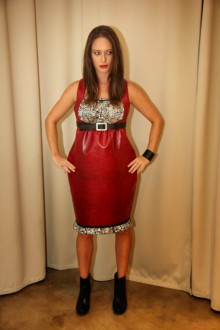 """Valentines Day """"no-animal"""" Red Leather Dress"""