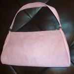 mauve suede handbag