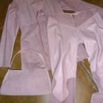 mauve suede pantsuit and handbag